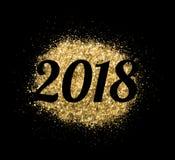 2018 des Goldfunkelns auf schwarzem Hintergrund, Symbol des neuen Jahres Lizenzfreies Stockbild