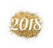 2018 des Goldfunkelns auf weißem Hintergrund, Symbol des neuen Jahres Stockfotografie