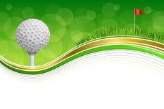 Des Golfsports des Hintergrundes Ballrahmen-Goldillustration der abstrakten roten Fahne des grünen Grases weiße Lizenzfreie Stockbilder