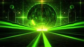 des Grün-3D Schleifen-Hintergrund Sciencefictions-Planeten-Augen-des Tunnel-VJ stock video