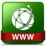 Des Grünquadrat-Knopfes WWW (Ikone des globalen Netzwerks) rotes Band im midd Lizenzfreie Stockfotos