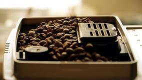 Des grains de café sont chargés dans la machine d'expresso pour le meulage closeup banque de vidéos