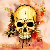 Des grungy Retro- Hintergrund Schädel-Druckes Vintge-Art stock abbildung