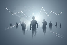 Des Gruppen-Geschäftsleute Schattenbild-Team Over Finance Graphic Background Lizenzfreies Stockbild