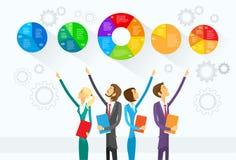 Des Gruppen-Show-Geschäftsleute Kreisdiagramm-Infographic Lizenzfreie Stockfotos