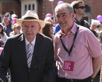 Des Hanafin and Mickey Harte. Des Hanafin (honorary president of the pro life campaign) and Mickey Harte(Tyrone football manager) at the Vigil for Life( stock photography