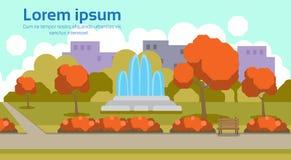 Des Herbstes horizontaler Kopienraum des städtischen gelben des Parks Brunnenlandschaftskonzeptes draußen flach vektor abbildung
