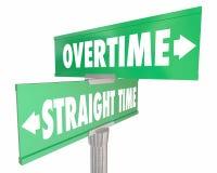 Des heures supplémentaires contre les signes fonctionnants de salaire de salaire de Straight Time Images libres de droits