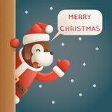 Des Hundejahr-2018 Karikatur-Design-Vektor frohe Weihnacht-Santa Looking Out Corner Cartoon-Charakter-Gruß-der Karten-3d lizenzfreie abbildung