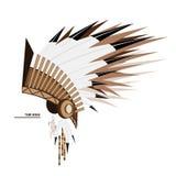 Des indischen Stammes- Seitenansicht Federhutes des Vektors Lizenzfreie Stockfotos