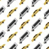 Des Industrieautos des Stadttransportes Illustrationsverkehrsfahrzeugstraßentourismus-Reiseweise des allgemeinen nahtlosen Muster Lizenzfreie Stockfotografie