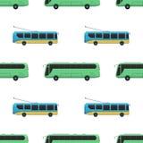 Des Industriebusses des Stadttransportes Illustrationsverkehrsfahrzeugstraßentourismus-Reiseweise des allgemeinen nahtlosen Muste Lizenzfreie Stockbilder