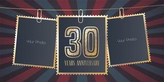 30 des Jahrestagsvektor-Jahre Emblems, Logo Lizenzfreie Stockfotos