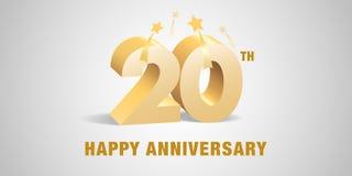 20 des Jahrestagsvektor-Jahre Logos, Ikone Schablonenfahne, Symbol mit goldenen Zahlen 3d stock abbildung