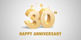 30 des Jahrestagsvektor-Jahre Logos, Ikone Schablonenfahne, Symbol mit goldenen Zahlen 3d lizenzfreie abbildung