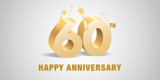 60 des Jahrestagsvektor-Jahre Logos, Ikone Schablonenfahne, Symbol mit goldenen Zahlen 3d lizenzfreie abbildung