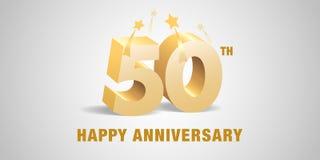 50 des Jahrestagsvektor-Jahre Logos, Ikone Schablonenfahne, Symbol mit goldenen Zahlen 3d vektor abbildung