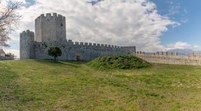 Des 12. Jahrhunderts altes byzantinisches Schloss in Platamonas Olymp-Region Mazedonien Griechenland lizenzfreie stockbilder