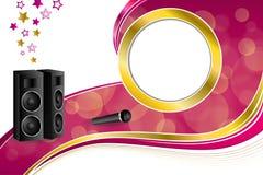 Des Karaokemikrofonlautsprechersternrosas des Hintergrundes abstrakte Bandkreis-Rahmenillustration gelbes Gold Stockfoto
