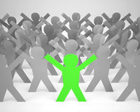Des Karikatur-Schattenbildes vieler Leute graues und ein Grün Stockfotos