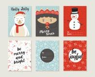 Des Kartensatz-Musters der frohen Weihnachten Retro- netter Bär Lizenzfreie Stockfotos
