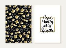Des Kartensatzes der frohen Weihnachten Retro- Muster des Goldes 80s Lizenzfreies Stockfoto