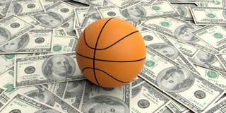 des Korbballs on100 der Wiedergabe 3d Dollarbanknoten Lizenzfreies Stockbild