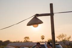Des lampes sont tissées du bambou Images libres de droits