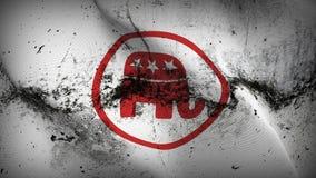 Des Logoschmutzes republikanischer Partei Vereinigter Staaten schmutziges fahnenschwenkendes auf Wind stock abbildung