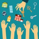 Des mains des acheteurs sont dessinées à la main d'un vrai Image libre de droits