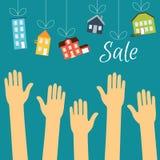 Des mains des acheteurs sont dessinées aux maisons qui sont Images libres de droits