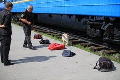 Des maitres-chien de crabot sont formés chez les crabots de douane pour rechercher des drogues et des armes Images libres de droits