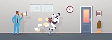 Des menschlichen moderner Roboterbetrieb Griffmegaphons des Chefs mit fallenden Papieren vom Aktenkoffer zur künstlichen Intellig lizenzfreie abbildung