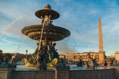 DES Mers de Fontaine bajo puesta del sol de París foto de archivo libre de regalías