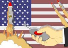 Des missiles nucléaires sont lancés en appuyant sur le bouton rouge b Images libres de droits
