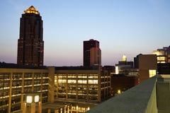 Des Moines antes de la salida del sol Imagen de archivo