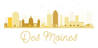 Des Moines City skyline golden silhouette. Royalty Free Stock Photo