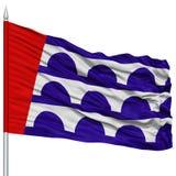 Des Moines Flag στο κοντάρι σημαίας, που κυματίζει στο άσπρο υπόβαθρο Στοκ Εικόνες
