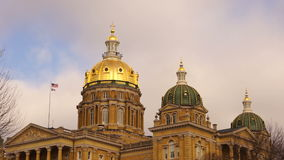 Des Moines Iowa Capital Building Government Dome Architecture stock footage