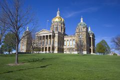 Des Moines, Iowa - capitol d'état images libres de droits