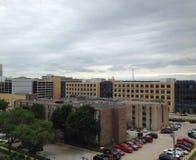 Des Moines Iowa, Methodist Medical Center. Des Moines Iowa downtown skyline taken from Methodist Medical Center parking garage royalty free stock image