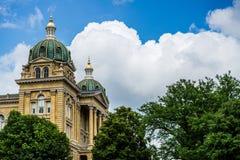 Des Moines Iowa het Capitool van de Staat stock afbeelding