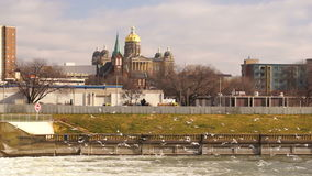 Des Moines Iowa Riverfront Capital Building Government Dome Architecture stock video footage