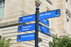 Des Moines Iowa Sign Post. One of the many sign posts installed in downtown Des Moines to help visitors find their way around Royalty Free Stock Photo