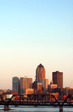Des Moines, Iowa, skyline. A vertical shot of the Des Moines, Iowa, skyline stock photo