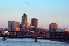 Des Moines, Iowa, skyline. A horizontal shot of the Des Moines, Iowa, skyline stock images