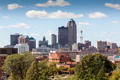Des Moines, Iowa. Skyline from the capitol grounds royalty free stock photos