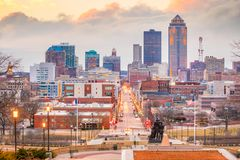 Des Moines Iowa skyline in USA. United States royalty free stock photo