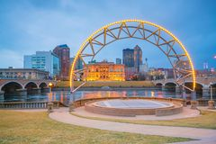 Des Moines Iowa skyline in USA. United States stock images