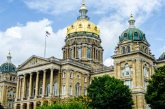Des Moines Iowa statKapitolium royaltyfria bilder